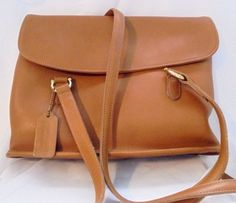 Genuine Coach Natural Carmel Leather Handbag, Purse with Tag Magnetic Closure #coach #ShoulderBag