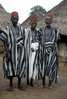 Dan men wearing hat called tarboosh, Man region (West), Ivory Coast. #stripes #Africa #design #style