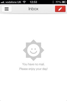 Inbox zero from Gmail on iPhone. This time it& a happy sun instead of a sad cloud. Ux Design, Page Design, Design Concepts, Smileys, Empty State, Happy Sun, Ui Patterns, Application Design, Human Emotions