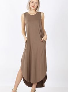 """BRUSHED DTY SIDE SLIT DRESS WITH POCKETS -BEST QUALITY BRUSHED DTY FABRIC -BUTTERY SOFT TOTAL BODY LENGTH: 48""""(front), CHEST: 34"""" approx -MEASURED FROM SMALL * COLOR MAY VARY SLIGHTLY DUE TO MONITOR RESOLUTION IMPORTED fabric 90% polyester 10% spandex Side Slit Maxi Dress, 34c, Cold Shoulder Dress, Pockets, Model, Total Body, How To Wear, Fashion Trends, Monitor"""