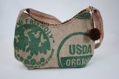I LOVE THIS ETSY SHOP!!! - I want this purse!!! Recycled Burlap Purse made from a Coffee Bean Sack Repurposed Eco Friendly Coffee Lovers Delight