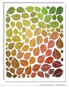 Falling Leaves Wall Art. Leaf Pattern Print. Autumn Leaves Home Decor. Fall Artwork. Autumn Colors. Changing Leaves Illustration.