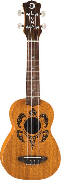 Luna's HONU Soprano Ukulele takes its design from traditional hawaiian body ornamentation. The designs were monochromatic, tattooed in black against brown skin. The patterns and layout were strongly geometric and there were many shapes and symbols which represented the natural island world:stones, waves, fish, sharks, turtles, rain, sun, birds.