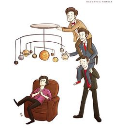 Doctor Who teaching Sherlock about the solar system!