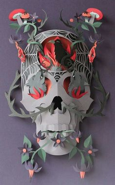 Paper cut out skull