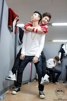 Rapmon and Jungkook. Rap Monster looks so done with his shit.