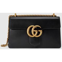 Gucci Gg Marmont Leather Shoulder Bag ($2,490) ❤ liked on Polyvore featuring bags, handbags, shoulder bags, black, gucci, shoulder handbags, genuine leather purse, oversized shoulder bag, structured handbags and leather handbags