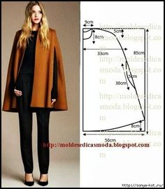 Cape pattern and sewing: 10 thousand images found in Yandex. Coat Patterns, Clothing Patterns, Dress Patterns, Sewing Patterns, Coat Pattern Sewing, Fashion Sewing, Diy Fashion, Ideias Fashion, Diy Clothing
