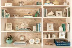Monday Link Love, Rosa Beltran Design, Bookcase, DIY Grasscloth Backed Bookcases