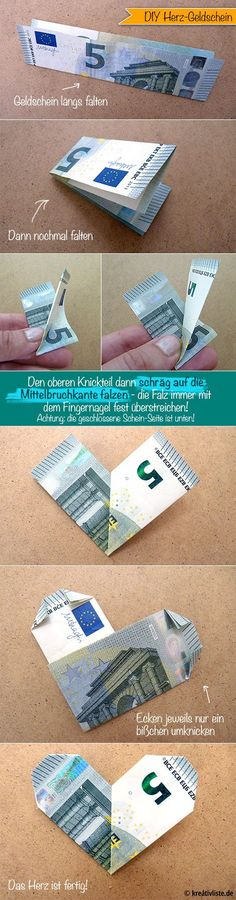 DIY Geldschein Origami Herz money heart - www.kreativliste.de