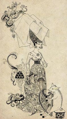 Weird and Wonderful: fairy-tale illustrations by Sveta Dorosheva on Behance Art Deco Illustration, Fantasy Kunst, Fantasy Art, Alphonse Mucha, Drawing Sketches, Art Drawings, Fairytale Art, Inspiration Art, Art Graphique