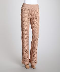 Another great find on #zulily! Cute Options Beige Lace Drawstring Straight-Leg Pants - Women by Cute Options #zulilyfinds