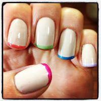 DIY rainbow french manicure nailart