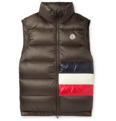 MONCLER TIB SLIM-FIT QUILTED SHELL DOWN GILET - GREEN. #moncler #cloth Tom Ford Jeans, Givenchy Sneakers, Mens Outdoor Jackets, Chunky Knitwear, Quilted Jacket, Army Green, Winter Jackets, Slim, Vest Coat