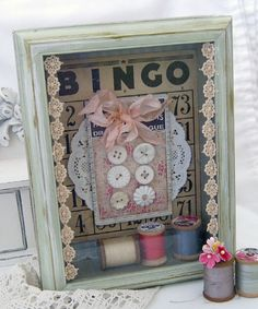 Love the Bingo, but I may try this with an old pattern in the background with a scrap of vintage material.