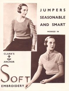 The Vintage Pattern Files: Free 1930's Knitting & Crochet Patterns - Two Seasonable and Smart Jumpers