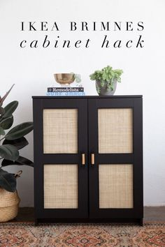 Turn this simple Ikea cabinet into a coveted piece in your home with this Ikea Brimnes Cabinet Hack using cane webbing #DIY #Ikeahack Ikea Furniture Hacks, Furniture Makeover, Home Furniture, Diy Furniture Decor, Cabinet Furniture, Decoration Entree, Diy Home Decor, Room Decor, Ikea Cabinets