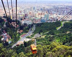 Montserrate in  Bogota, Colombia .You can take a tram up to the top of the mt where there is a church.