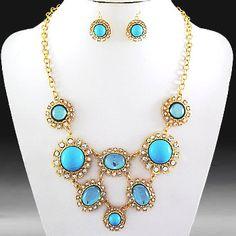 Stone Statement Fashion Necklace & Earring Set-Gold/Turquoise