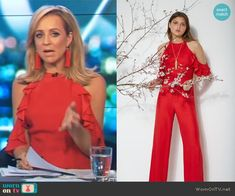 Carrie's red cold shoulder ruffle jumpsuit on The Project.  Outfit Details: https://wornontv.net/92934/ #TheProject