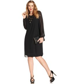 Love Squared Plus Size Long Sleeve Embellished Shift Dress Real Beauty Dresses
