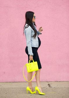Spring maternity outfit idea from fashion blogger pink peonies: LBD, neon accessories, denim jacket