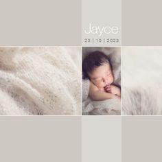 www.hetuilennestje.nl gebootekaartje Jayce Dean: Fotografie/ foto's, collage, ster/ sterretjes, simpel, sfeervol, romantisch, babyfoto, vachtje, rustig, lief, zacht, modern, soft.