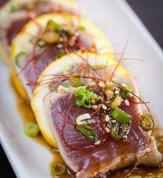 #Tataki di #tonno e #limone di #Sicilia con salsa #teriaky #porri e #zafferano. #Tataki #tuna and #lemons of #Sicily with #teriaky sauce #leeks and #saffron.  #soulkitchenitalia #bornready #cateringfood #cateringbar #catering #gourmetfood #gourmet #passion #passionforfood #instafood #food #foodporn #follow #followus by soulkitchenitalia