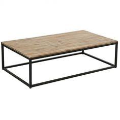 Table basse industriel en bois et métal Edena (L.115xl.65xH.32.5cm)