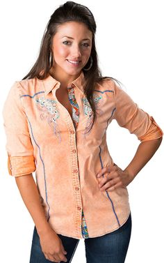 Roar® Women's Foundation Orange with Embroidery & Crystals 3/4-Long Sleeve Western Shirt