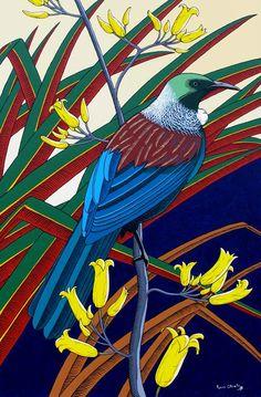 Contemporary modern acrylic painting of a New Zealand Tui. Native bird artwork, landscape, portrait and figure art. Mosaic Art, Mosaics, Art Maori, Tui Bird, Cd Art, Bird Artwork, Kiwiana, Mosaic Ideas, Bird Drawings
