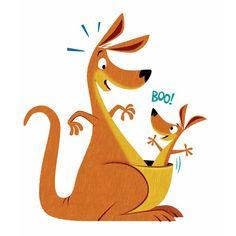 #MichaelRobertson #illustration #children #whimsical #kangaroo #joey #surprise #Australia #humorous #motherandchild #lindgrensmith