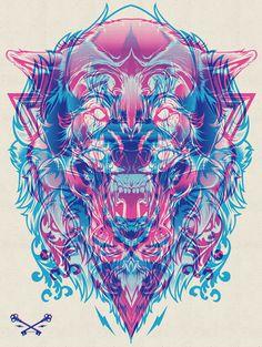 Lion & the Wolf halftone screenprint / Hydro74 #drawing #illustration #overlap #layers