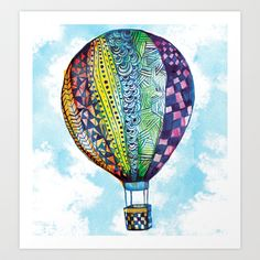 Hot Air Balloon Art Print by Emily Stalley - $17.68