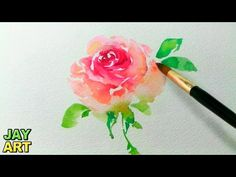 How to paint a pink rose in watercolor - Jay Art - YouTube