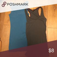 Set of ribbed long tank tops Set of ribbed long tank tops. Blue and charcoal grey. Both sized medium. Will fit size S to M. Good length to use for layering. Tops Tank Tops