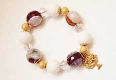 White Agate Bracelet Tree of Life Gemstone Bracelet by GioArte, $38.99