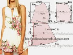 Portuguese site with illustration showing how to create the pattern for this easy romper.