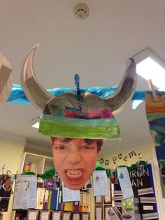 Viking helmets-if I add some about me or something like that for beginning of school. Classroom Displays Ks2, Teacher Classroom Decorations, School Displays, Classroom Activities, Art Activities, Vikings Ks2, Explorers Unit, World History Classroom, Viking Helmet