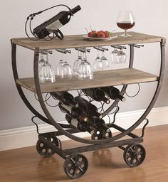 Industrial Wine Bar Cart Rolling Table Rustic Warehouse Wood & Metal On Wheels