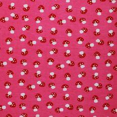 Kinderstoffen Jersey - Paddenstoelen Fuchsia