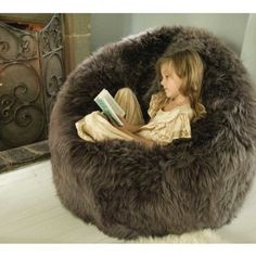 This sheepskin beanbag is perfect for a cozy kids' reading nook.