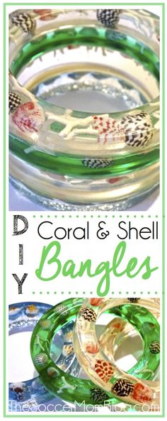 These DIY Coral and Shell Resin Bangles are a stunning and beautiful addition to your jewelry collection!