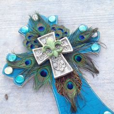 """Large 24"""" Peacock Cross - MADE TO ORDER. $115.00, via Etsy."""
