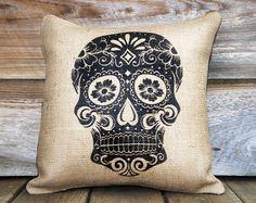 Sugar Skull oreiller coussin décoratif jour de la par TheWatsonShop