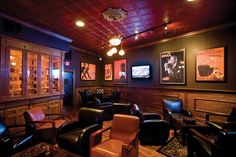 Office/ Cigar Room Option Blue, Steel or Pewter Tin Ceiling and lots of Dark wood Cigar Lounge Decor, Cigar Lounge Man Cave, Bar Lounge, Lounge Areas, Gaming Lounge, Cigar Club, Cigar Bar, Bar Design, Lounge Design