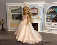 Items similar to Clearance - Victorian Blue Dress & Accessories for American Girl Dolls - Felicity on Etsy Custom American Girl Dolls, American Girl Crafts, American Girl Clothes, Girl Doll Clothes, Doll Clothes Patterns, Doll Patterns, Sewing Patterns, American Dolls, Costume Patterns