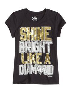Shine Like A Diamond Graphic Tee Justice Store, Diamond Graphic, Kids Outfits, Cool Outfits, Justice Clothing, Tween Girls, Boys, Tween Fashion, Looks Cool
