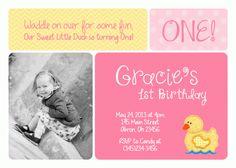 Rubber Duck e Photo Card Birthday Invitation Photo Birthday Invitations, Birthday Cards, Birthday Parties, Rubber Duck Birthday, Little Duck, E Photo, Birthday Photos, Some Fun, Photo Cards