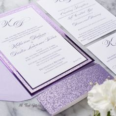Katherine is a sweet formal and elegant wedding invitation all in one! This Foil and glitter wedding invitation lets your guests know to expect elegance! Bling Wedding Invitations, Purple Wedding Invitations, Printable Wedding Invitations, Wedding Invitation Design, Wedding Stationery, Invitation Cards, Purple And Gold Wedding, Purple Lace, Gold Lace